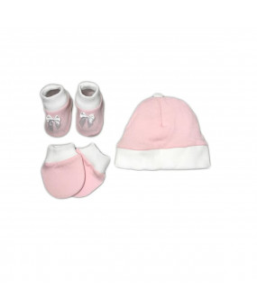 KIT TRICOT LISO COM SAPATO LUVA E TOUCA 0/3 MESES REF.1100 - TRICART BABY